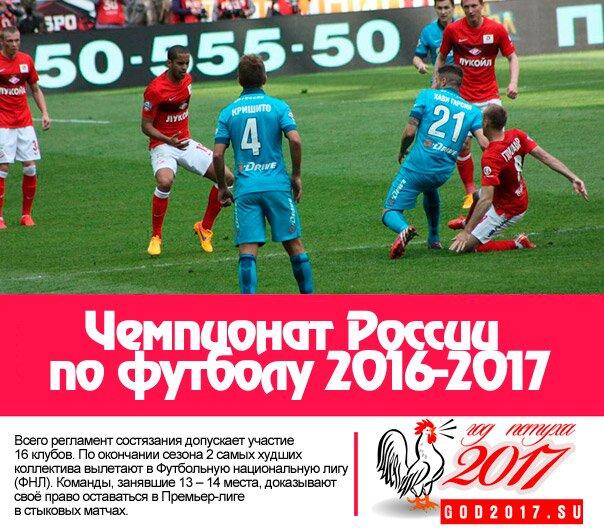 2016-2017 лига российская футболу премьер по