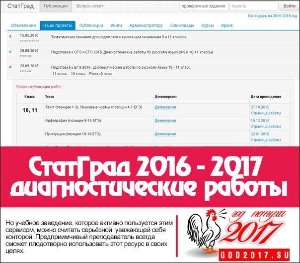 СтатГрад 2016 - 2017 диагностические работы
