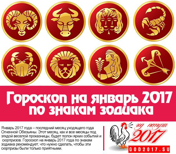 Гороскоп на январь 2017 по знакам зодиака