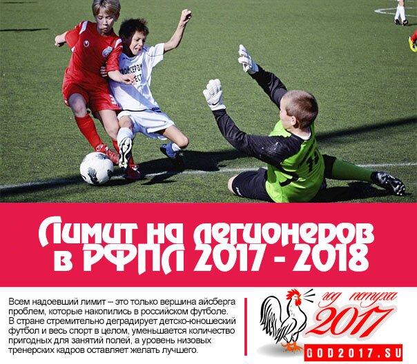 Лимит на легионеров в РФПЛ 2017 - 2018