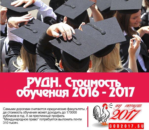 РУДН. Стоимость обучения 2016 - 2017