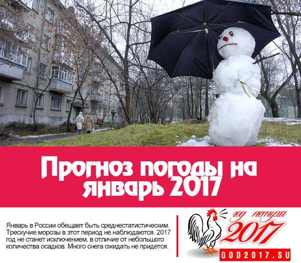 Прогноз погоды на январь 2017