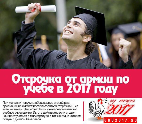 Отсрочка от армии по учебе в 2017 году (закон)